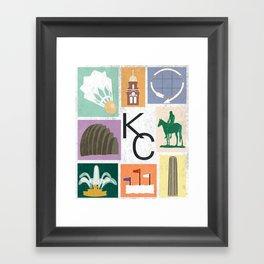 Kansas City Landmark Print Framed Art Print