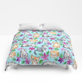Kittens and Clematis - blue Comforters