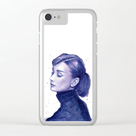 Audrey Hepburn Watercolor Portrait Clear iPhone Case