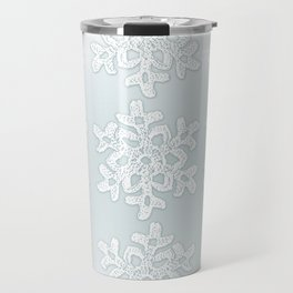 Crocheted Snowflake Ornaments on teal mist Travel Mug