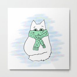Cute white cat in green scarf. Metal Print