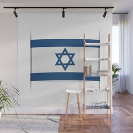Flag of Israel. Vector illustration of a stylized flag. The slit in the paper with shadows Wall Mural