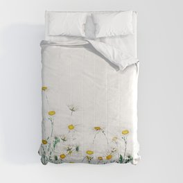 white margaret daisy horizontal watercolor painting Comforters