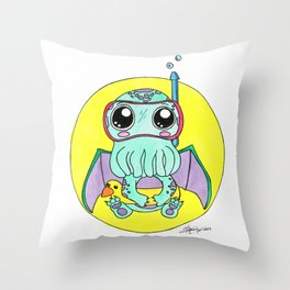 Just keep swimming, Cute-thulu! Throw Pillow