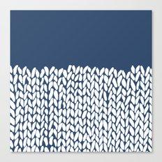 Half Knit Navy Canvas Print