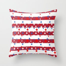 Star Spangled Red and White Stripes Throw Pillow