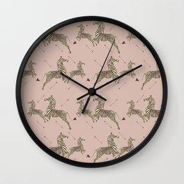 Royal Tenenbaums Zebra Wallpaper - Dusty Pink Wall Clock