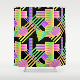 Neon Ombre 90's Striped Shapes Shower Curtain