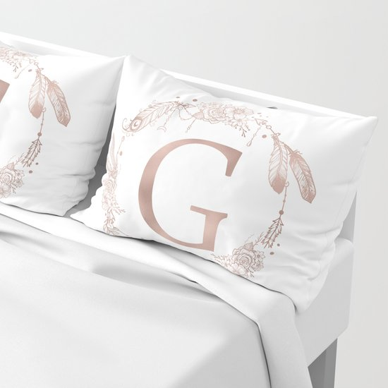 Letter G Rose Gold Pink Initial Monogram by naturemagick