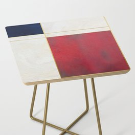 Blue, Red And White With Golden Lines Abstract Painting Side Table