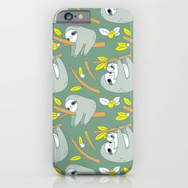 Sloth pattern in green iPhone Case