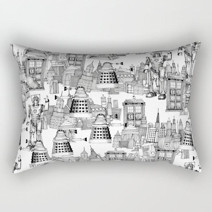 Doctor Who Toile de Jouy | 'Walking Doodle' | Black Rectangular Pillow