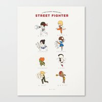 street fighter Canvas Prints featuring Street Fighter Classic Moves by catplusmouse
