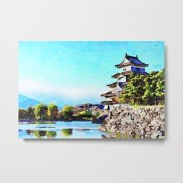 Watercolor of Matsumoto Castle Metal Print