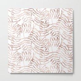 Rose Gold Leaves 1 Metal Print