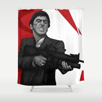 montana Shower Curtains featuring Tony Montana by Ambady