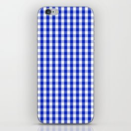 Cobalt Blue and White Gingham Check Plaid Squared Pattern iPhone Skin
