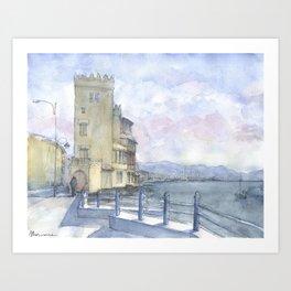 Castello sul mare a colori Art Print