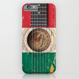 Old Vintage Acoustic Guitar with Mexican Flag iPhone Case