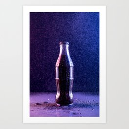 Glass bottle with carbonated drink under the drops of water Art Print