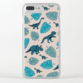 Dinosaur jungle illustration pattern blue teal boys print Clear iPhone Case