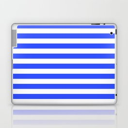 Even Horizontal Stripes, Blue and White, M Laptop & iPad Skin