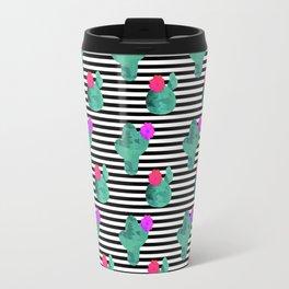 Cactus Stripes White Background Travel Mug