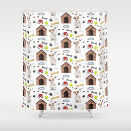 Jack Russell Dog Half Drop Repeat Pattern Shower Curtain