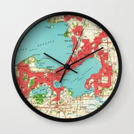Vintage Map of Madison Wisconsin (1959) Wall Clock