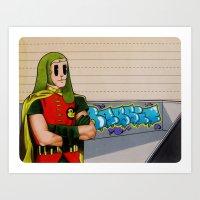 robin hood Art Prints featuring Robin da hood by Next Level Doots