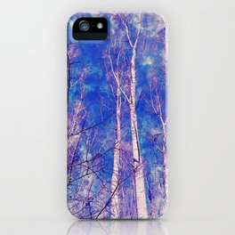 White Trees Light Blue Sky In February Watercolor iPhone Case