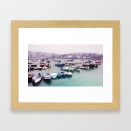 Foggy boats in St Ives Framed Art Print