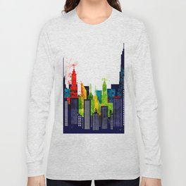Colorful City Buildings And Skyscrapers In Watercolor, New York Skyline, Wall Art Poster Decor, NYC Long Sleeve T-shirt