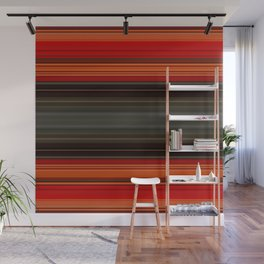 Sunset Orange and Grey Stripes Wall Mural