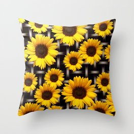 Bright Yellow Sunflower and Industrial Grid Pattern Throw Pillow