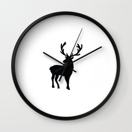 Black and white nordic deer Wall Clock