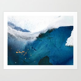 In the Surf: a vibrant minimal abstract painting in blues and gold Art Print