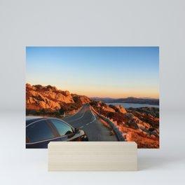 Panoramic road to La Maddalena, Italy Mini Art Print