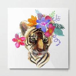 Tiger Cub with Flowers Metal Print