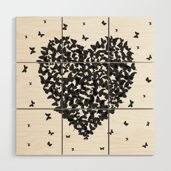 Heart Summer Card Design Black Butterfly On White Background Wood Wall Art By Ekaterinap