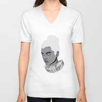 gray V-neck T-shirts featuring Gray lady by Roland Banrevi