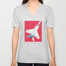 MiG-25 Foxbat Interceptor Jet Aircraft - Crimson Unisex V-Neck