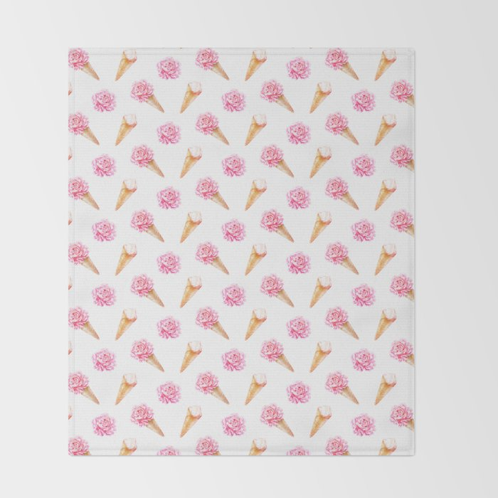 Floral Cones Pattern Throw Blanket