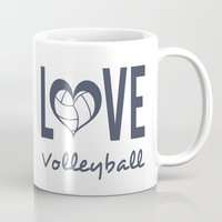volleyball Mugs featuring Love Heart Volleyball (blue) by raineon