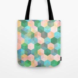 Child's Play - hexagon pattern in mint green, pink, peach & aqua Tote Bag