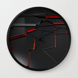 Black fractured surface with red glowing lines Wall Clock
