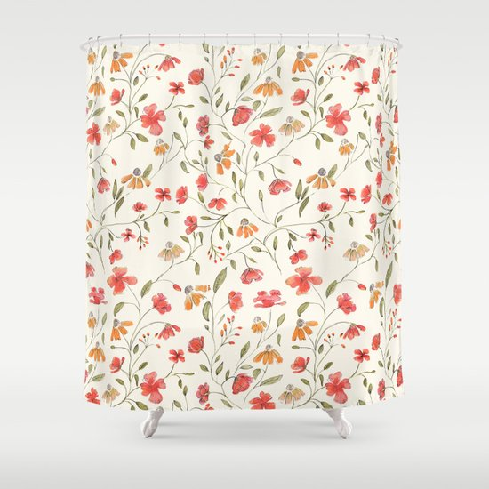 Red And Orange Vintage Floral Pattern Shower Curtain By Chotnelle Society6