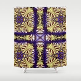 New Dynamics Pattern 17 (Blue Fractal Diamond) Shower Curtain