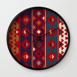 Red Blues & Cream Aztec Wall Clock