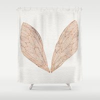 rose gold Shower Curtains featuring Cicada Wings in Rose Gold by Cat Coquillette